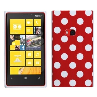 INSTEN Red Mixed Polka Dots Candy Skin Phone Case Cover for Nokia 920 Lumia