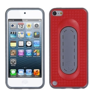 Insten Red/ Gray Checker TPU Rubber Candy Skin Case Cover with Stand For Apple iPod Touch 5th/ 6th Gen