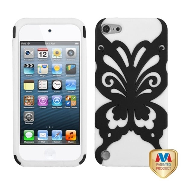 Insten White/ Black Butterflykiss Hard PC/ Silicone Hybrid Rubberized Matte Case Cover For Apple iPod Touch 5th/ 6th Gen