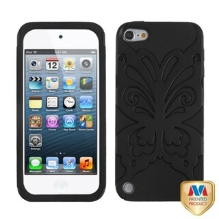 Insten Black Butterflykiss Hard PC/ Silicone Dual Layer Hybrid Rubberized Matte Case Cover For Apple iPod Touch 5th/ 6th Gen