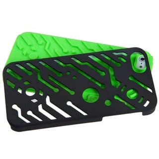 INSTEN Black/ Green Circuit board Hybrid Phone Case for Apple iPhone 5/ 5S/ SE