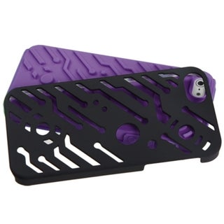 INSTEN Black/ Purple Circuit board Hybrid Phone Case Cover for Apple iPhone 5