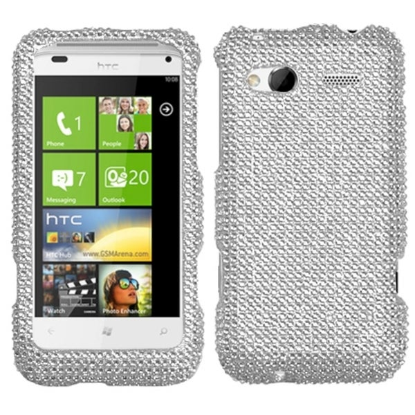 INSTEN Silver Diamante Phone Case Cover Diamante for HTC Radar 4G