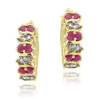 Glitzy Rocks 18k Gold over Silver Ruby Diamond Accent Hoop Earrings (1 1/10ct TGW )