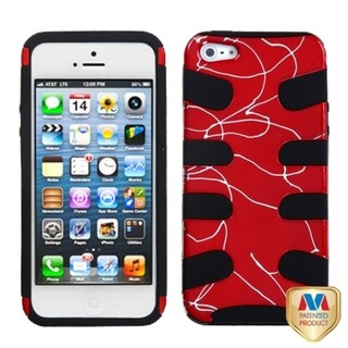 INSTEN Red/ Black Curved Lines Fishbone Phone Case for Apple iPhone 5/ 5S/ SE