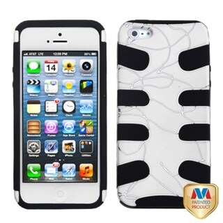 INSTEN White/ Black Curved Lines Fishbone Phone Case Cover for Apple iPhone 5