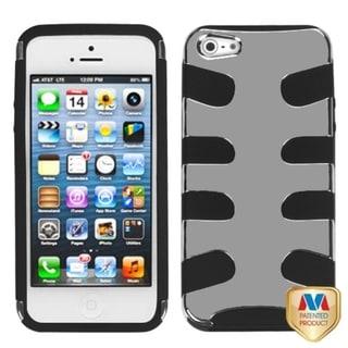 INSTEN Silver Plating/ Black Fishbone Phone Case for Apple iPhone 5/ 5S/ SE