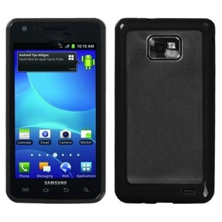 INSTEN Clear/ Solid Black Gummy Phone Case Cover for Samsung I777 Galaxy S II