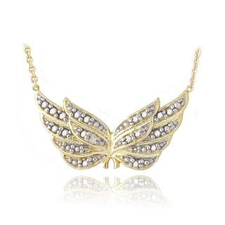 DB Designs 18k Gold over Silver Diamond Accent Angel Wing Necklace