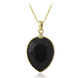 Glitzy Rocks 18k Gold over Silver Faceted Onyx and White Topaz Necklace