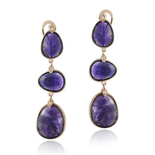 Glitzy Rocks Rose Gold over Silver Faceted Dog Tooth Amethyst and Topaz Earrings