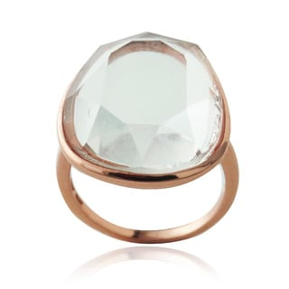 Glitzy Rocks Rose Gold over Silver Free-form Crystal Clear Quartz Ring