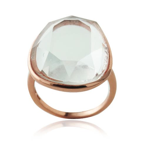 Glitzy Rocks Rose Gold over Silver Free-form Crystal Clear Quartz Ring