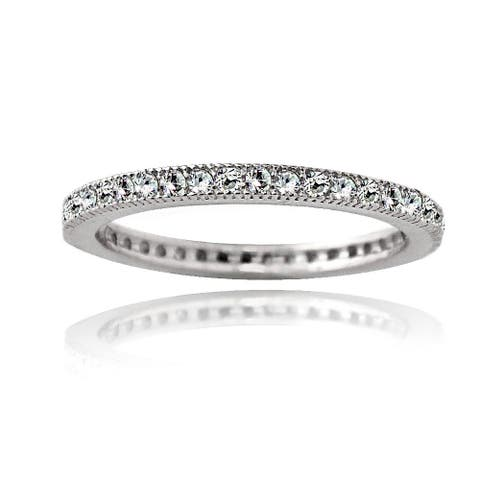 Icz Stonez Cubic Zirconia Sterling Silver Eternity Band Stackable Ring