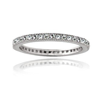 Icz Stonez Cubic Zirconia Sterling Silver Eternity Band Stackable Ring (More options available)