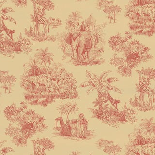 Brewster Red Safari Toile Wallpaper