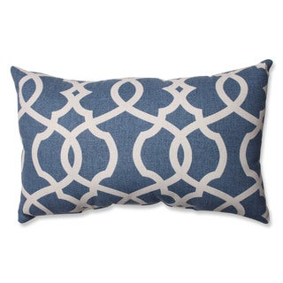 Pillow Perfect Lattice Damask Blue Rectangular Throw Pillow
