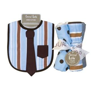 Trend Lab Max Necktie Dress Up Bib and 4-piece Burp Cloth Set