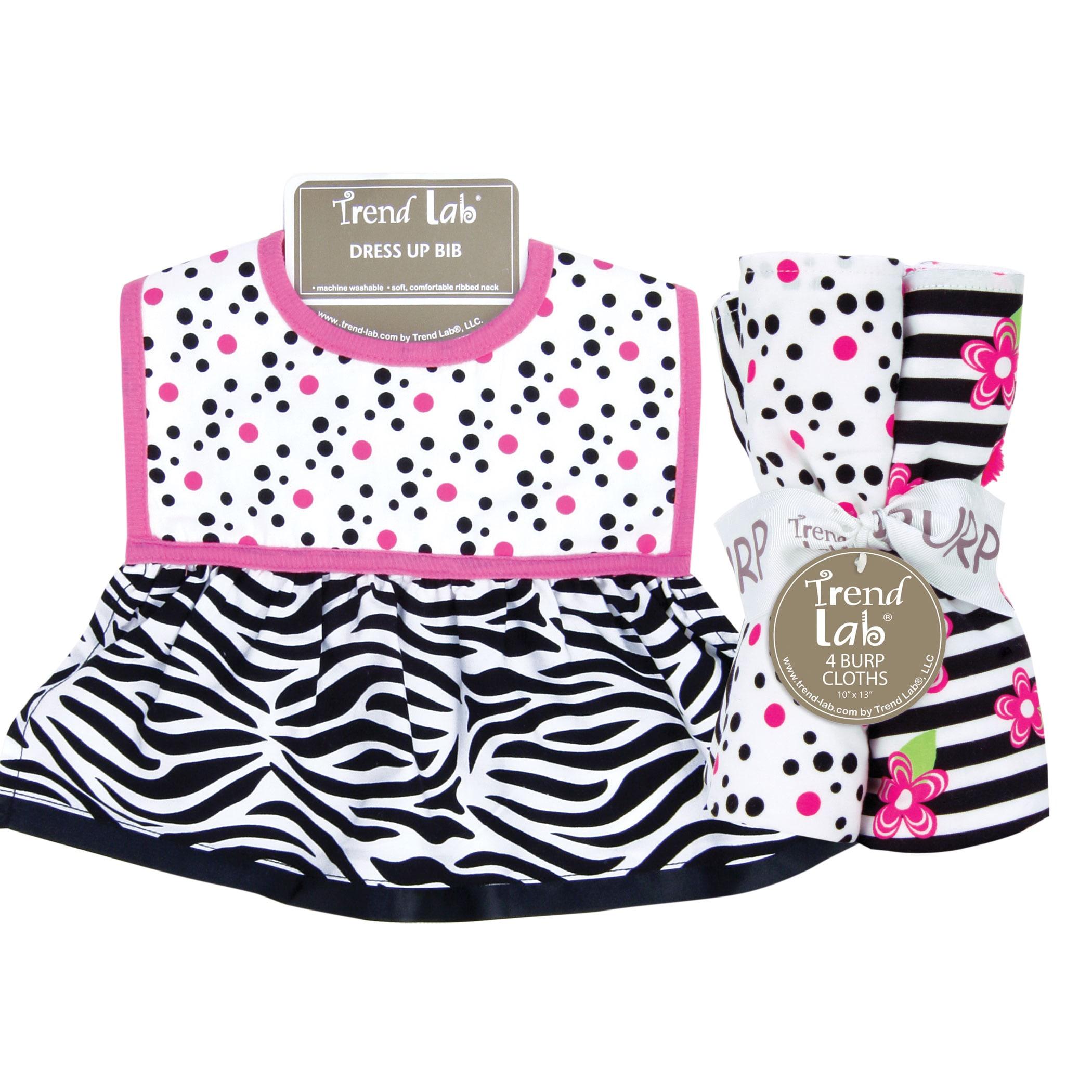 Trend Lab Zahara Zebra Dress Up Bib and 4-piece Burp Clot...