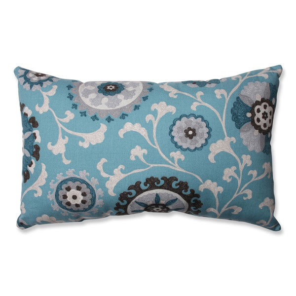 Pillow Perfect Suzani Teal Rectangular Throw Pillow