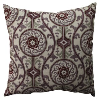 Pillow Perfect Suzani Damask Plum 24.5-inch Pillow