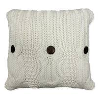'Michaela' White Knitted Throw Pillow