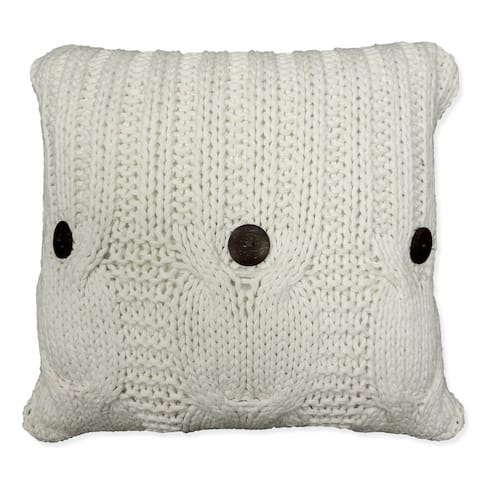 'Michaela' White Knitted Throw Pillow