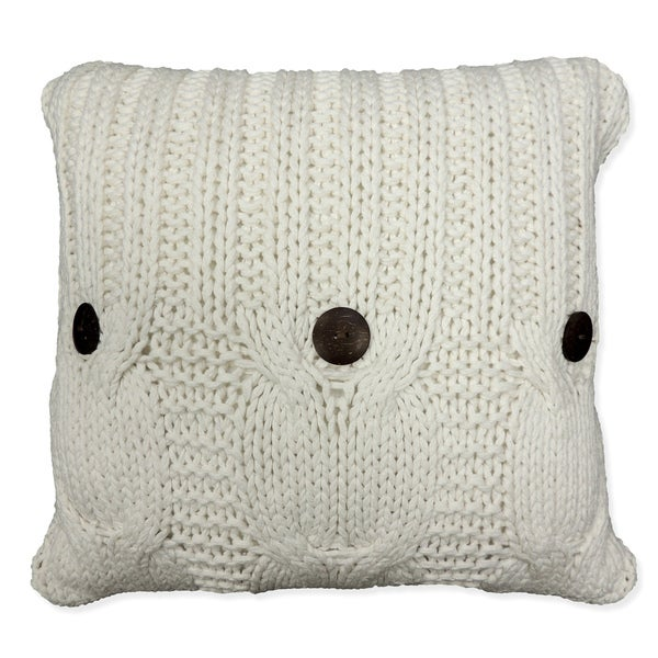 'Michaela' White Knitted Throw Pillow. Opens flyout.
