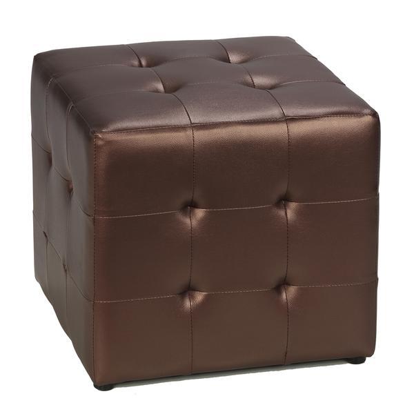 Cortesi Home Dark Copper Metalic Cube Ottoman