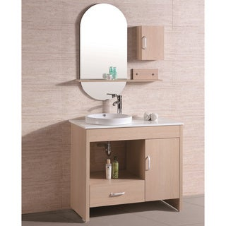 Artificial Stone-Top Single Sink Bathroom Vanity with Mirror and Wall Cabinet