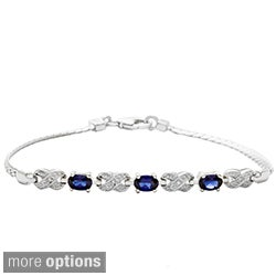 Oravo Sterling Silver Gemstone and Cubic Zirconia Bracelet
