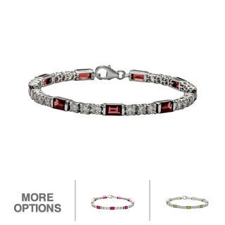 Oravo Sterling Silver Baguette-cut Gemstone and Cubic Zirconia Bracelet