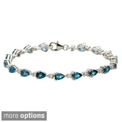 Oravo Sterling Silver Pear-cut Gemstone and Cubic Zirconia Bracelet