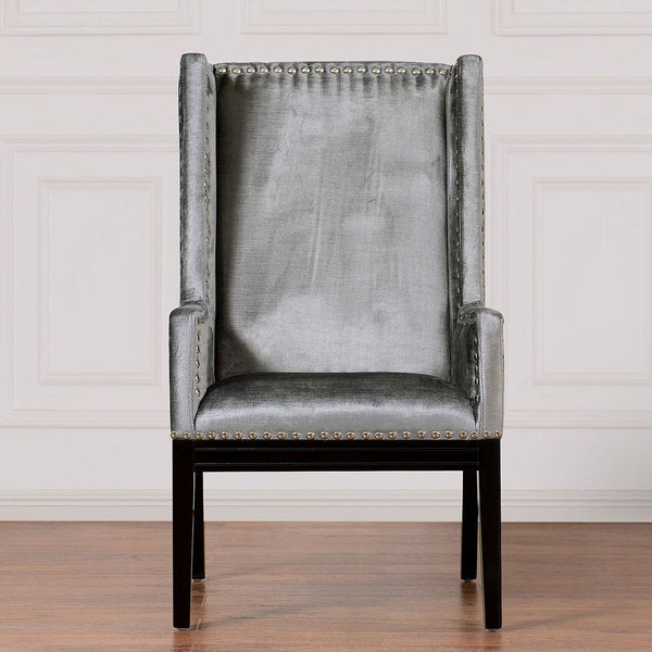 Shop Tribeca Grey Velvet Chair Free Shipping Today