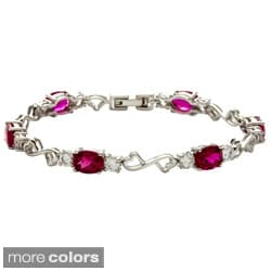 Oravo Sterling Silver Oval-cut Gemstone and Cubic Zirconia Bracelet