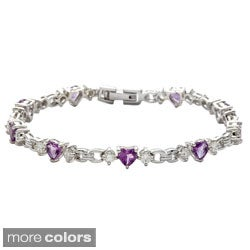 Oravo Sterling Silver Heart-cut Gemstone and Cubic Zirconia Bracelet