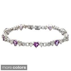 Oravo Sterling Silver Heart-cut Gemstone and Cubic Zirconia Bracelet