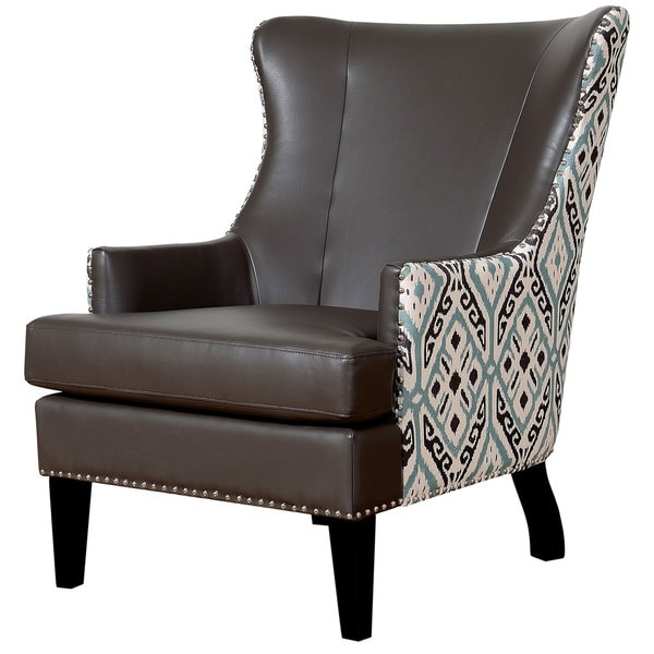 Soho Leather Ikat Wing Chair Free Shipping Today