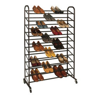 Richards Homewares Bronze Rolling 50-Pair Shoe Rack