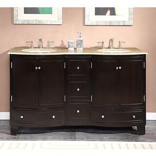 Silkroad Exclusive 60-inch Travertine Stone Top Bathroom Vanity Double Sink Cabinet
