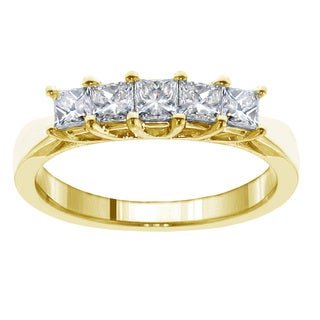 14k/18k Yellow Gold 1ct TDW Princess-cut Diamond 5-stone Wedding Band (F-G, SI1-SI2)