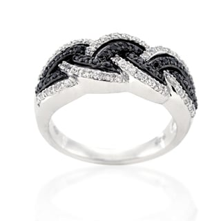 Beverly Hills Charm Silver 1/2ct TDW Black and White Diamond Ring (H-I, I1-I2)