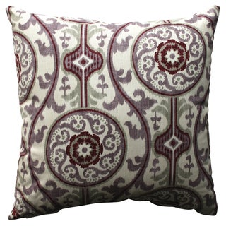Pillow Perfect Suzani Damask Plum 18-inch Throw Pillow