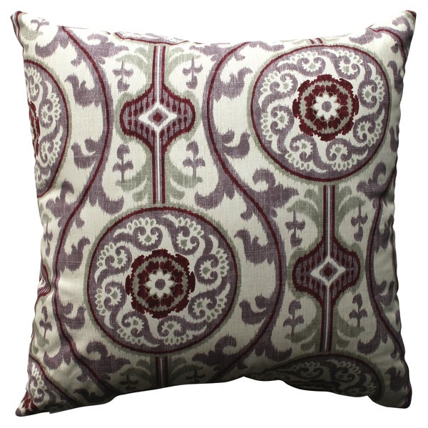 Shop Pillow Perfect Suzani Damask Plum 18 Inch Throw