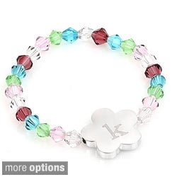 Personalized Silver Children's Multi-colored Crystal Flower Bracelet
