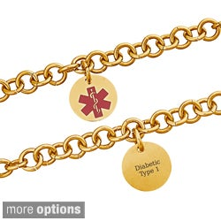 Goldplated Steel Engraved Round Medical Alert ID Bracelet (More options available)