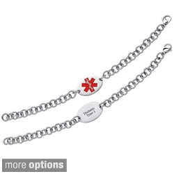Stainless Steel Engraved Oval Medical Alert ID Bracelet