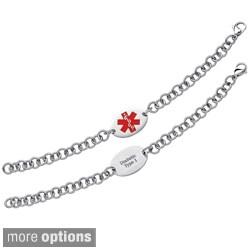 Stainless Steel Engraved Oval Medical Alert ID Bracelet