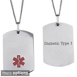 Stainless steel engraved medical alert id dog tag necklace free stainless steel engraved medical alert id dog tag necklace mozeypictures Choice Image