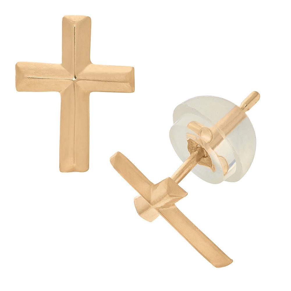 Junior Jewels 14k Yellow Gold Children's Cross Stud Earri...